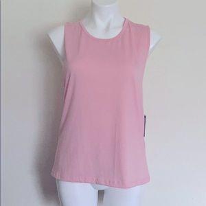 Onzie Twist Back Yoga Workout Top Pink Peach NEW